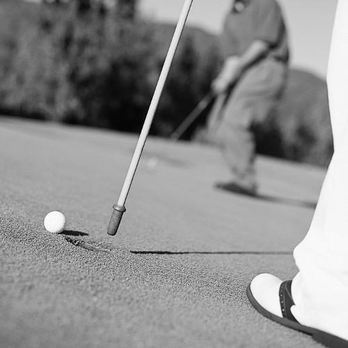 Golfing Innovations offers innovative putters and trainer aids plus its Guide Liner ball stenciling tool that helps golfer get straighter follow-through on putts.